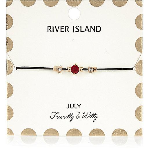 Bracelet rouge avec pierre de naissance mois de juillet