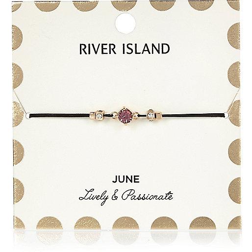 Bracelet violet avec pierre de naissance mois de juin