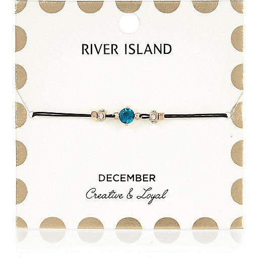 Bracelet bleu avec pierre de naissance mois de décembre