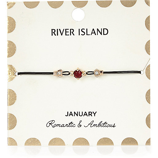 Bracelet rouge avec pierre de naissance mois de janvier