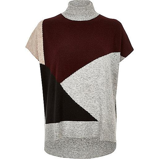 Grey colour block knit top