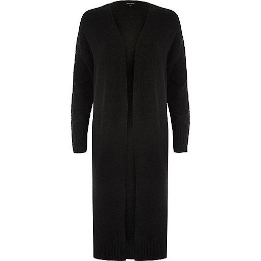 Cardigan noir coupe longue