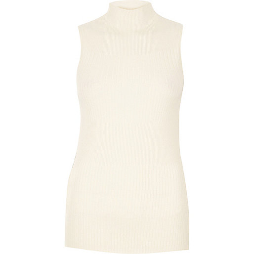 Cream knit sleeveless turtleneck top