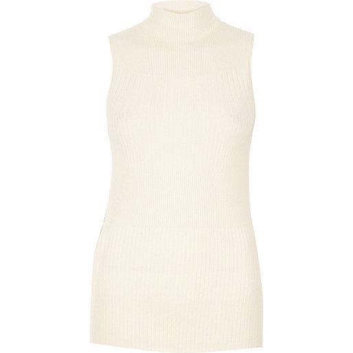 Cream knit sleeveless turtle neck top