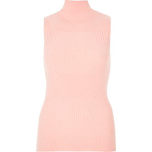 Light pink knit sleeveless turtleneck top