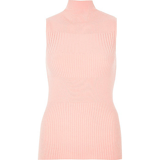 Light pink knit sleeveless turtle neck top