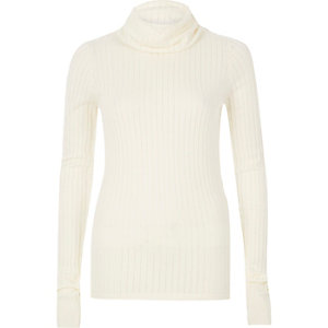 Cream ribbed roll neck top