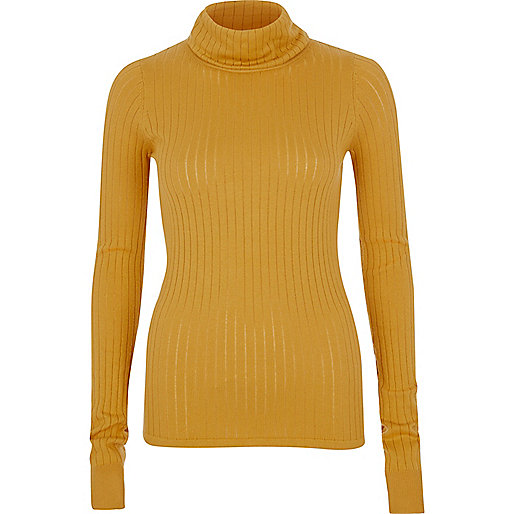 Dark yellow ribbed roll neck top
