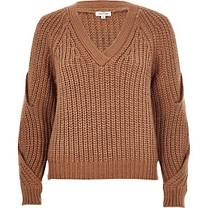 Brown V-neck cold shoulder sweater