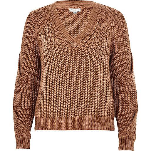 Brown V-neck cold shoulder jumper