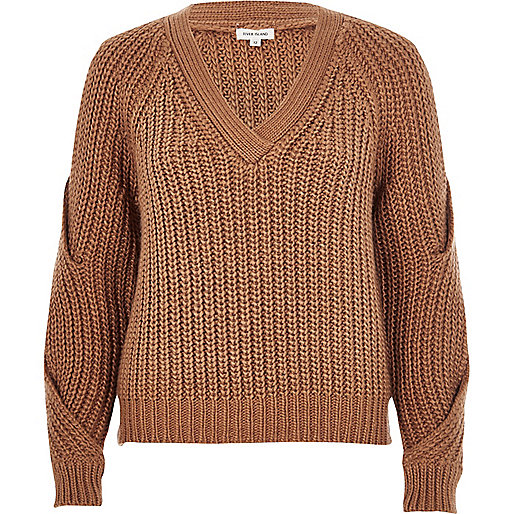 Brown chunky knit cold shoulder sweater