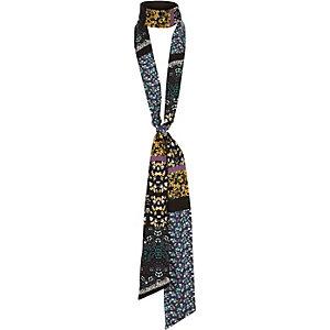 Navy print skinny scarf