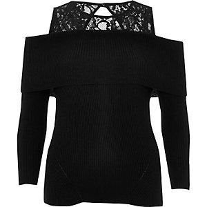 Black lace panel bardot knit top
