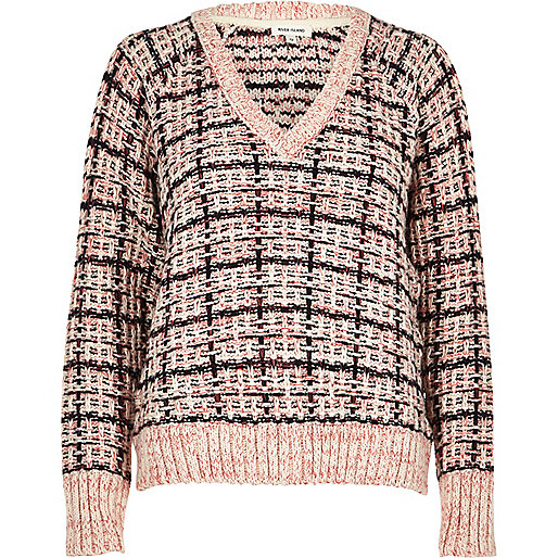 Pink chunky knit check sweater