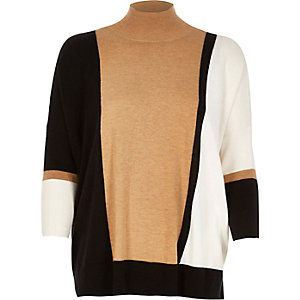 Black colour block gauge knit top