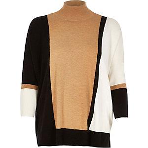 Black color block gauge knit top