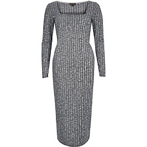 Grey ribbed maxi dress