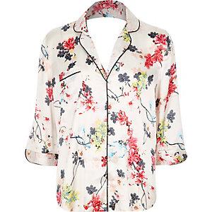 White floral print pajama shirt