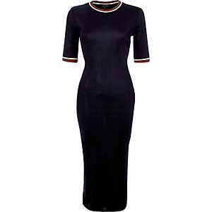 Navy column midi dress