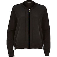 Black woven front bomber jacket