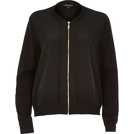 Black woven front bomber jacket