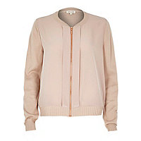 Nude woven front bomber jacket