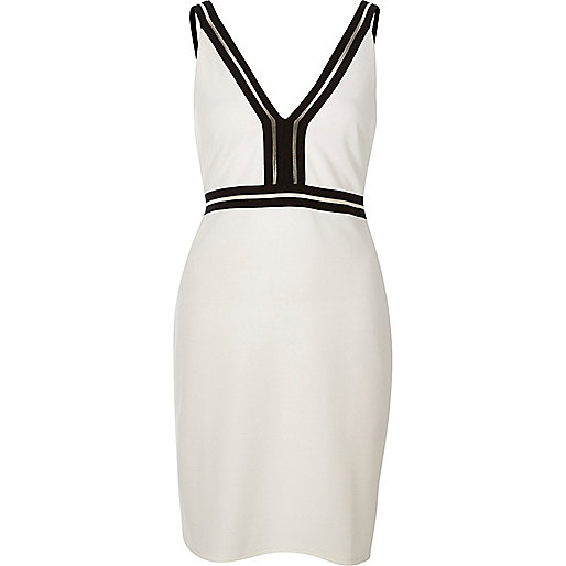 White sport trim mini dress