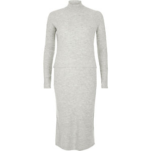 Grey ribbed knit 2 in 1 dress
