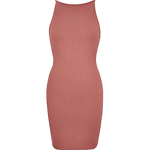 Pink ribbed dress