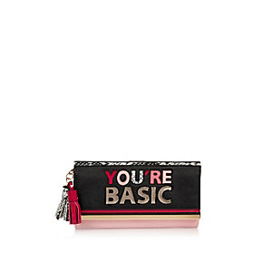 Black print slogan cliptop purse