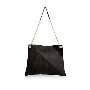 Black suede panel handbag
