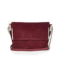 Dark red suede foldover handbag