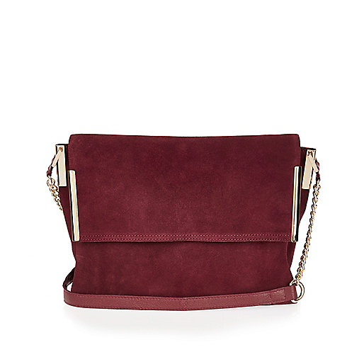 Dark red suede foldover handbag
