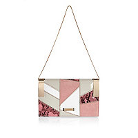 Pink patchwork chain handbag