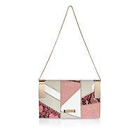 Pink patchwork chain handbag