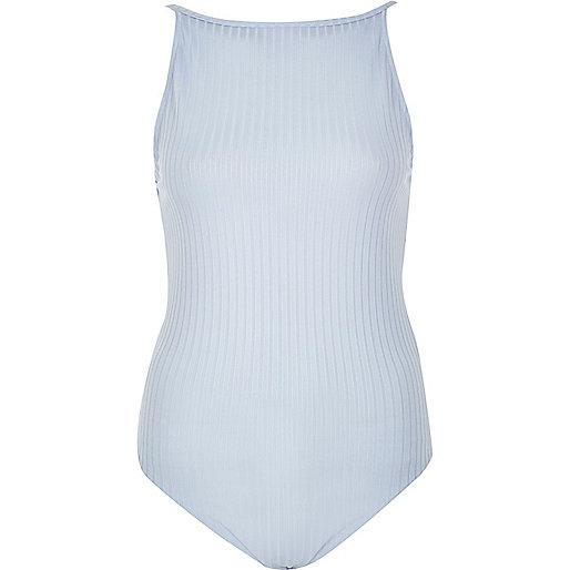 Body caraco style années 90 bleu clair