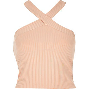 Light pink cross neck crop top