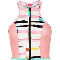 Pink print zip bikini top