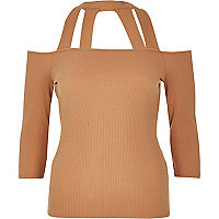 Light pink strappy bardot top