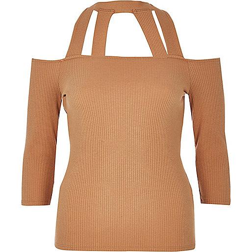 Light pink strappy bardot top
