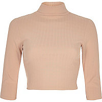 Light pink ribbed roll neck crop top