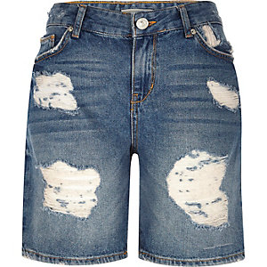 Mid blue wash boyfriend denim shorts