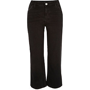 Black flared cropped jeans
