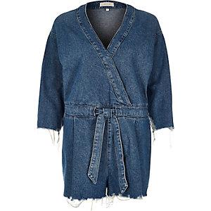 Mid blue wash denim kimono romper
