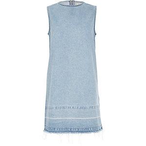 Light blue wash denim shirt dress