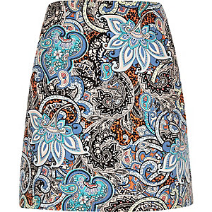 Blue print pelmet skirt