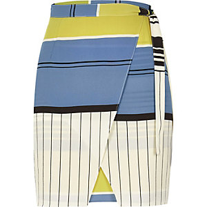Blue stripe print skirt