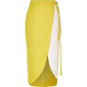 Yellow colour block wrap midi skirt
