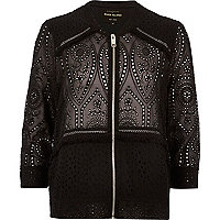 Black crochet bomber jacket