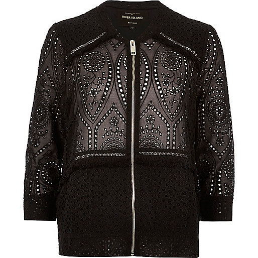 Black crochet bomber jacket